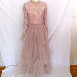Beaded lace & tired tulle long gown modest S